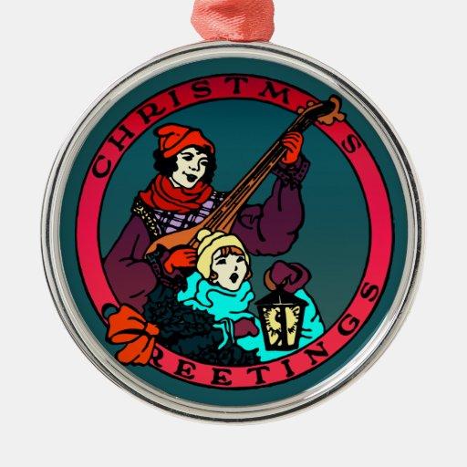 Retro Weihnachtsgrüße, Kind und Dichtungskittspiel Weinachtsornamente