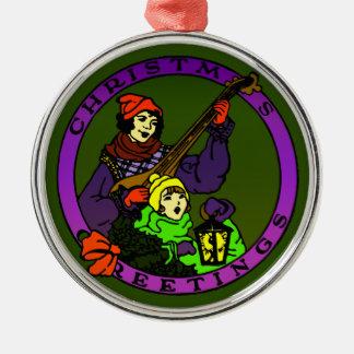 Retro Weihnachtsgrüße, Kind und Rundes Silberfarbenes Ornament