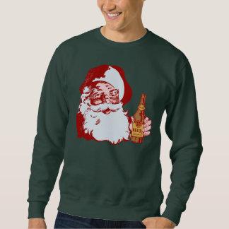 Retro Weihnachtsmann mit einem Bier-Weihnachten Sweatshirt