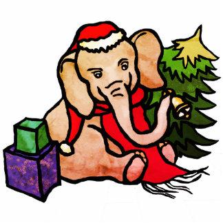 Retro Weihnachtssankt-Cartoon-Elefant Fotoskulptur Ornament