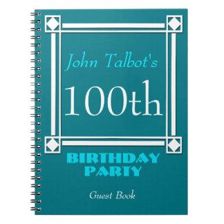 Retro weißer Rahmen-100. Geburtstags-Gast-Buch Spiral Notizblock