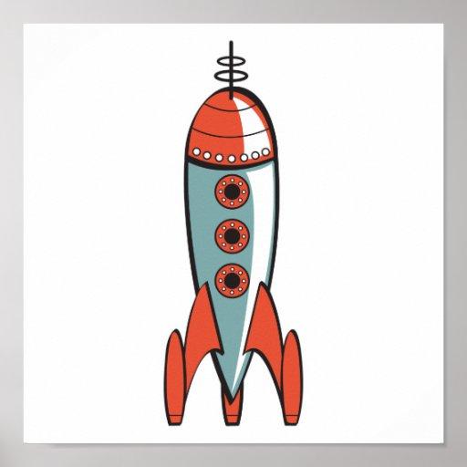 Retro Weltraumrakete Poster