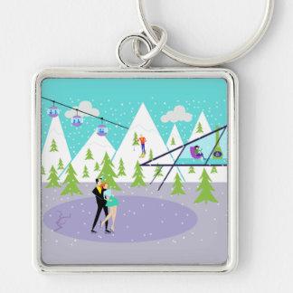 Retro Winter-Skiort Keychain Schlüsselanhänger