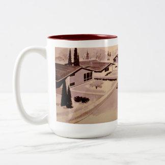 Retro Wohnungs-Architektur-Tasse - Zweifarbige Tasse