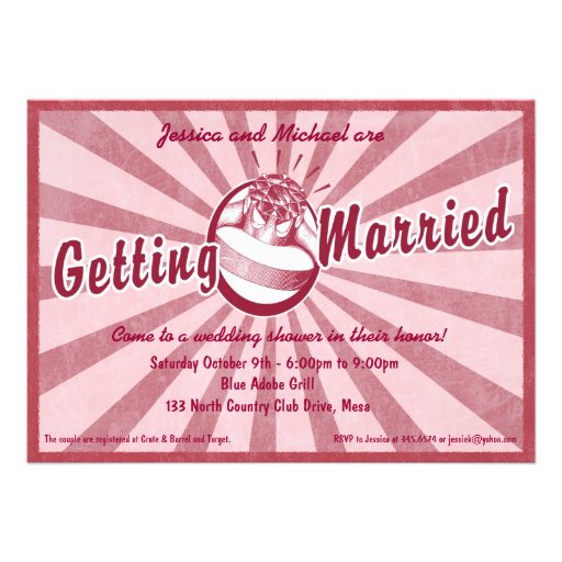 Retro wow-Brautparty-Einladung - Magenta