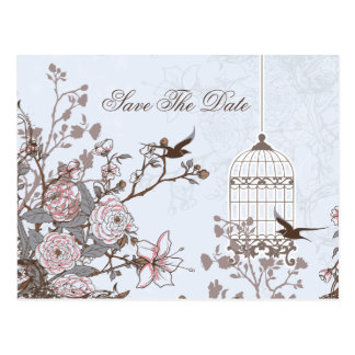 Retten blauer Vogelkäfig des Chic, Liebevögel die Postkarte
