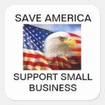 Retten Sie Amerika-Unterstützung Kleinbetrieb Quadratsticker