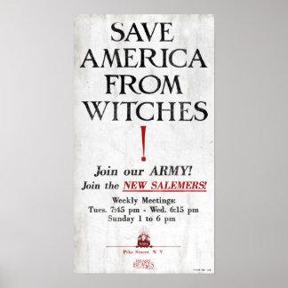 Retten Sie Amerika von den Hexen Poster