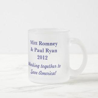 Retten Sie Amerika! - Wählen Sie Romney u. Ryan Matte Glastasse