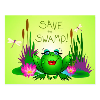 Retten Sie das Sumpf Femme Fatale Frosch-Grün Postkarte