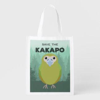 Retten Sie dem Kakapo wiederverwendbare Wiederverwendbare Einkaufstasche