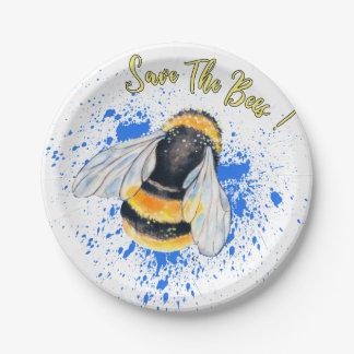 Retten Sie den Bienen Watercolor-Kunst Pappteller