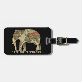 Retten Sie den Elefanten Gepäck-Umbau mit ledernem Kofferanhänger