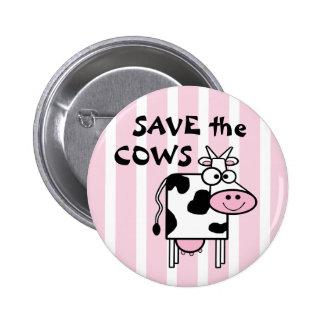 Retten Sie den Kühen Tier-Rechte Runder Button 5,1 Cm