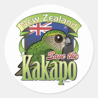 Retten Sie den NeuseelandKakapo Runder Aufkleber