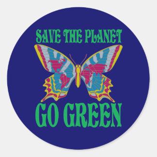 Retten Sie den Planeten gehen Grün Runder Aufkleber