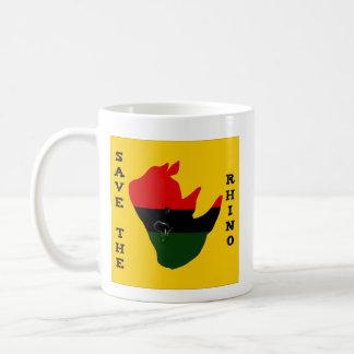 Retten Sie den Rhino mit Afrika-Riss-Gelb Kaffeetasse