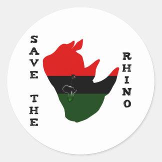 Retten Sie den Rhino mit Afrika-Riss-Weiß Runder Aufkleber