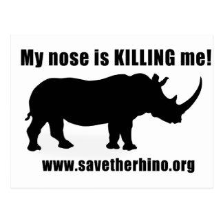 Retten Sie den Rhino Postkarte