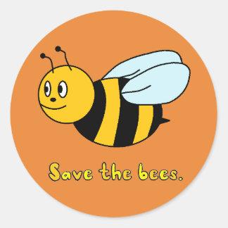 'Retten Sie der Bienen Runder Aufkleber