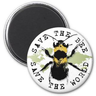 Retten Sie die Biene… retten die Welt! Runder Magnet 5,1 Cm