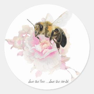Retten Sie die Biene! Retten Sie die Welt! Hübsche Runder Aufkleber