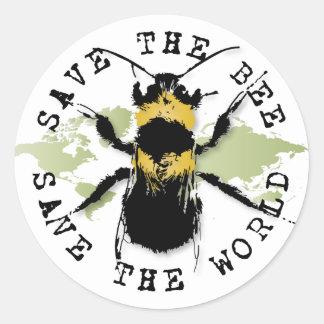 Retten Sie die Biene! Retten Sie die Welt! Runder Aufkleber