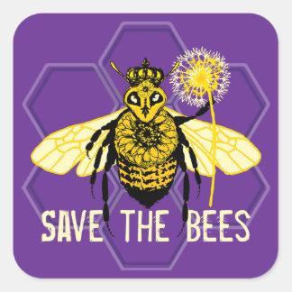 Retten Sie die Bienen Quadratischer Aufkleber