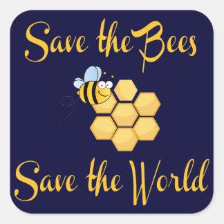 Retten Sie die Bienen retten die Welt Quadratischer Aufkleber