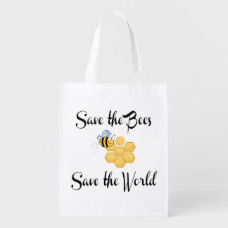 Retten Sie die Bienen retten die Welt Wiederverwendbare Einkaufstasche