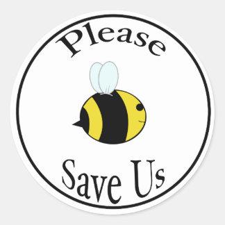 Retten Sie die Bienen Runder Aufkleber