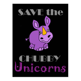 Retten Sie die Chubby Unicorns-Spaß-Grafik Postkarte