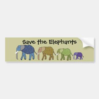 Retten Sie die Elefanten Autoaufkleber