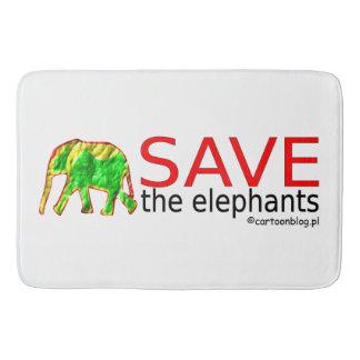 retten Sie die Elefanten Badematte