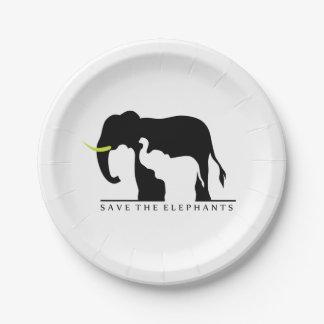 Retten Sie die Elefanten Pappteller