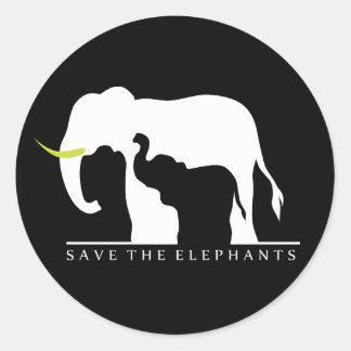 Retten Sie die Elefanten (Schwarzes) Aufkleber