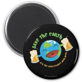Retten Sie die Erde Runder Magnet 5,7 Cm
