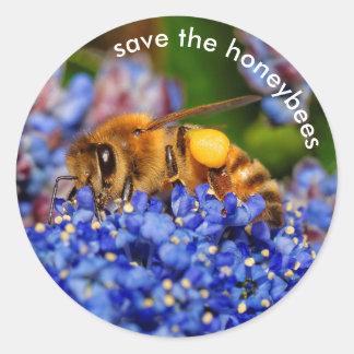 Retten Sie die Honigbienen, die Runder Aufkleber