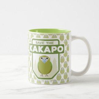 Retten Sie die Kakapo-Papageien-Tasse Zweifarbige Tasse