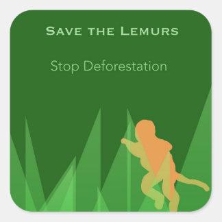 Retten Sie die Lemurs Quadratischer Aufkleber