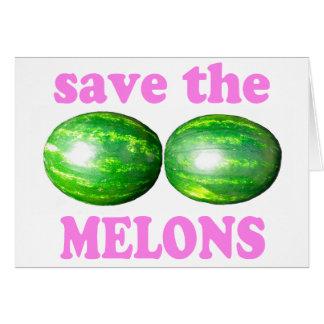 retten Sie die Melonen auf Weiß mit Rosa Karte