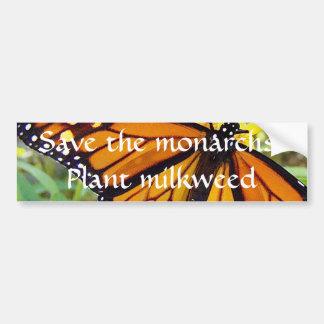 Retten Sie die Monarchen, Pflanze Milkweed - Autoaufkleber
