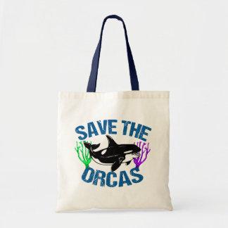 Retten Sie die niedlichen Orcas Tragetasche
