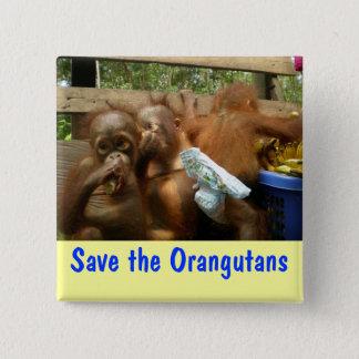 Retten Sie die Orang-Utans Quadratischer Button 5,1 Cm