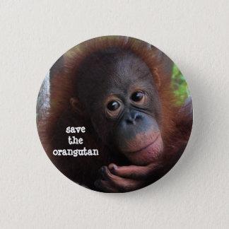 Retten Sie die Orang-Utans! Runder Button 5,7 Cm