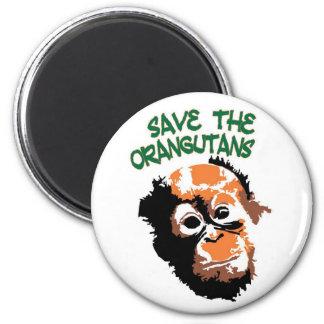 Retten Sie die Orang-Utans Runder Magnet 5,7 Cm
