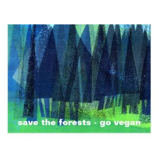 retten Sie die Wälder - gehen Sie vegan Postkarte
