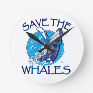Retten Sie die Wale Runde Wanduhr
