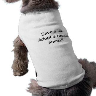 Retten Sie ein Leben adoptieren ein Rettungstier Ärmelfreies Hunde-Shirt