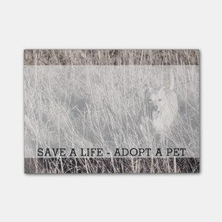 Retten Sie ein Leben adoptieren einen Post-it Klebezettel